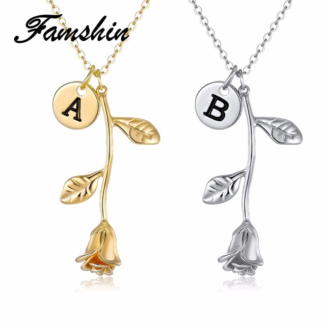 FAMSHIN 26 Letter Personalized Name Jewelry Rose Engrave Letter Discs Choker Mon