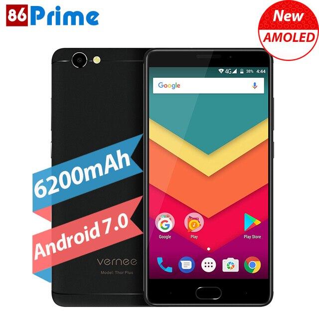 Original Vernee Thor Plus Mobile Phone 6200mAh Fingerprint ID Android 7.0 Cell Phone 5.5 Inch 3GB 32GB Smartphone 13MP Phone