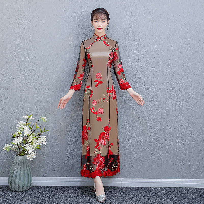 womens Chinese Ladies Wedding Ancient embroidery Dress Formal Bride Qipao Chic
