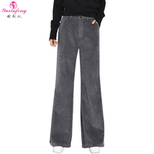 Yuxinfeng Classical Wide Leg Pants Corduroy Plus Size Zipper Button High Waist Trousers For Women Pockets Casual Female Pants