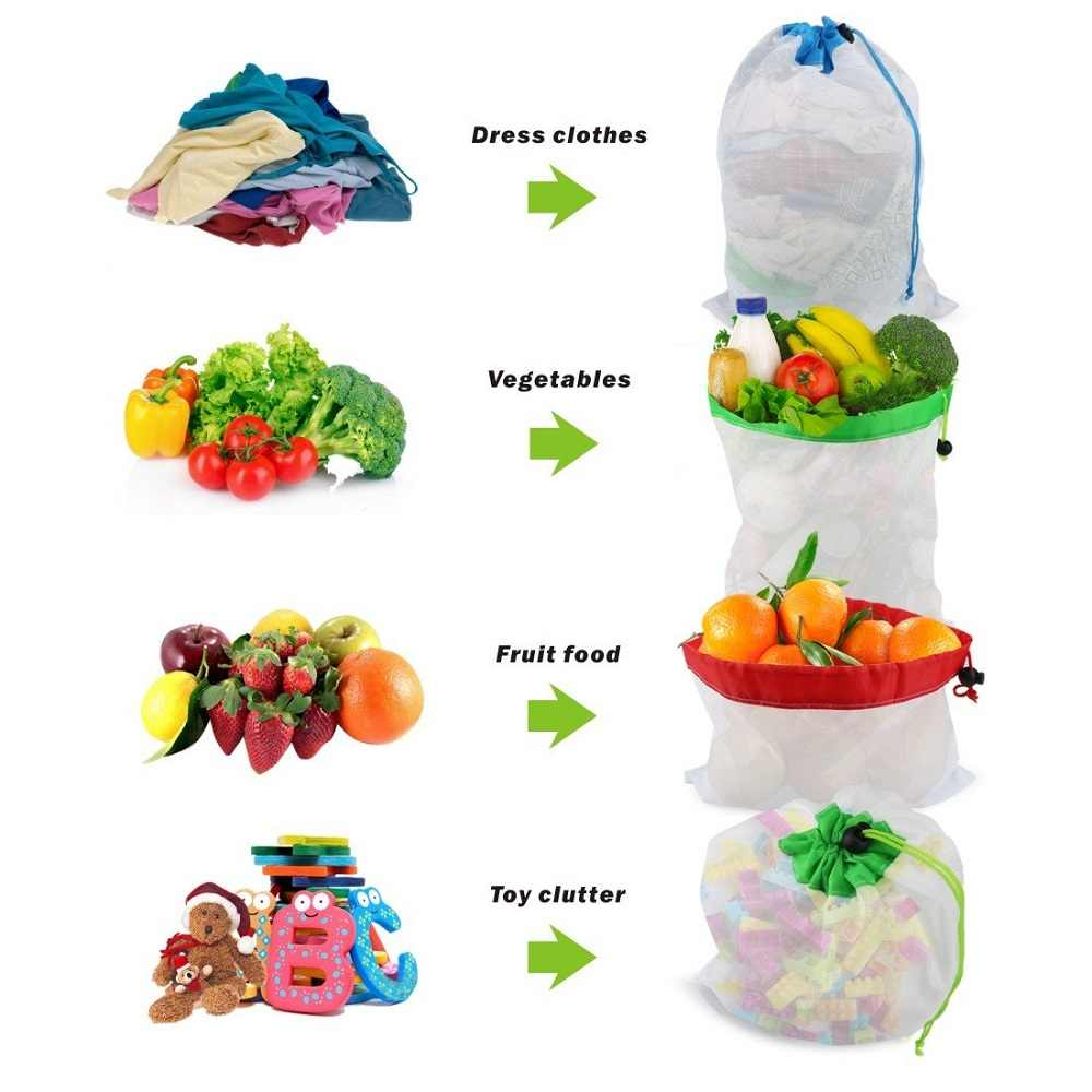 12pcs Reusable Produce Bags Washable Mesh Bags for Grocery Shopping Fruit Vegetable Toys Sundries Organizer Storage Bags
