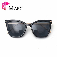MARC UV400 WOMEN 2018NEW Eyewear Designer Cat Eye Sunglasses Oculos Resin Sol Plastic Gafas Black