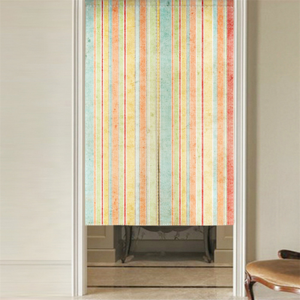 Japanese Style NOREN Curtain Canvas Door Curtain For Kitchen Store Green  Leaves Colorful Striped Tapestry 85x100/85X140/85X180cm In Window Screens  From Home ...