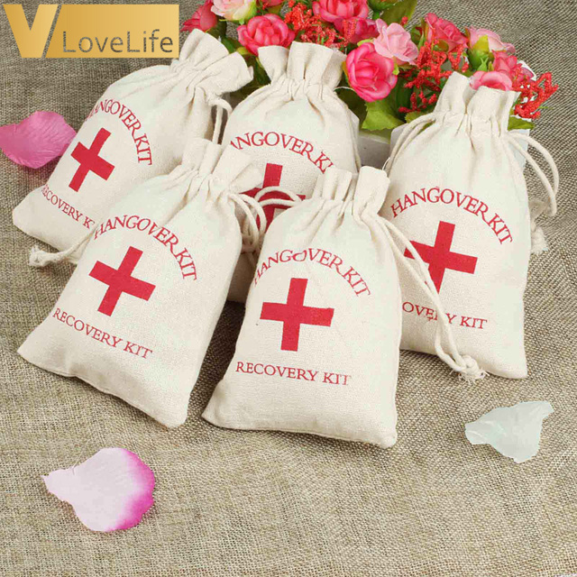 12pcs Hangover Kit Bags Wedding Favor Holder Bag Red Cross Cotton Linen Gift Recovery Survival