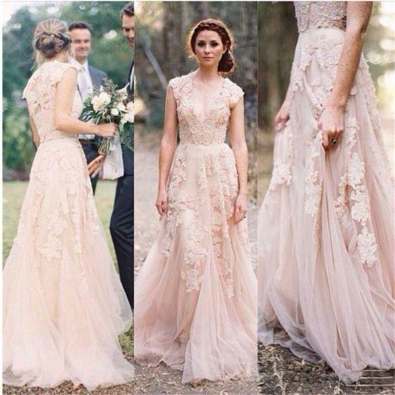 alta calidad apliques vestido de noiva cuello en v vestido de novia