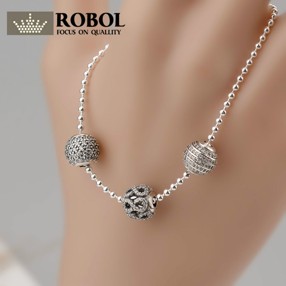 ROBOL 2017 NEW Bracelets & Bangles 925 Sterling Silver Jewelry Bracelets With Silver Ball And Bead Design Silver Link Chain DIY 2018 mens jewelry double layer link chain men bracelets 925 sterling silver bracelets
