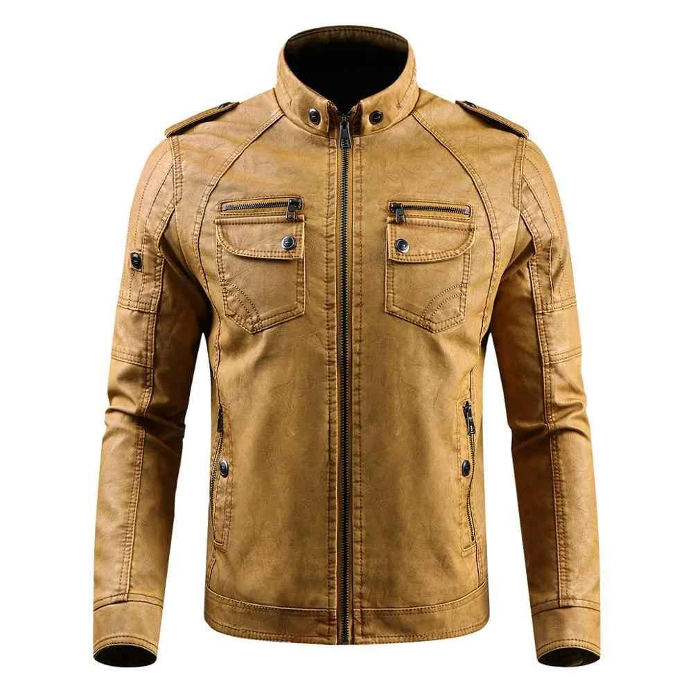 Chaqueta de cuero para hombre Casual Slim Fit Stand Collar lavado PU Faux cuero abrigo hombres grueso más terciopelo Motercycle Bomber chaquetas 4XL