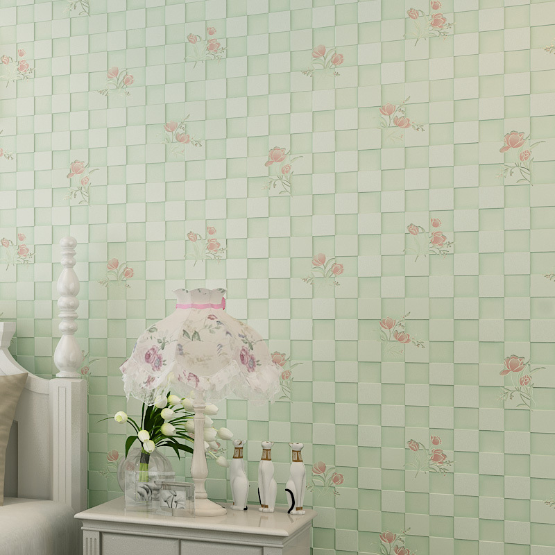 ФОТО beibehang The new pastoral plaid wallpaper flower shop for environmental non-woven wallpaper bedroom living room TV backdrop