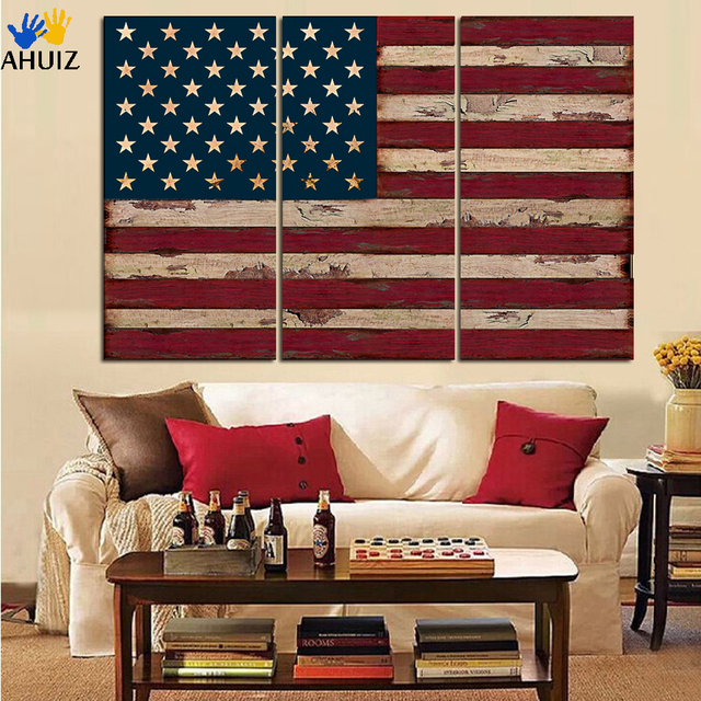 3Panel American USA United States of America Flag Canvas Wall Art ...