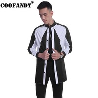COOFANDY 2017 Newest Male Clothes Men Shirts Mens Casual Long Sleeve Stand Collar Loose Patchwork Color