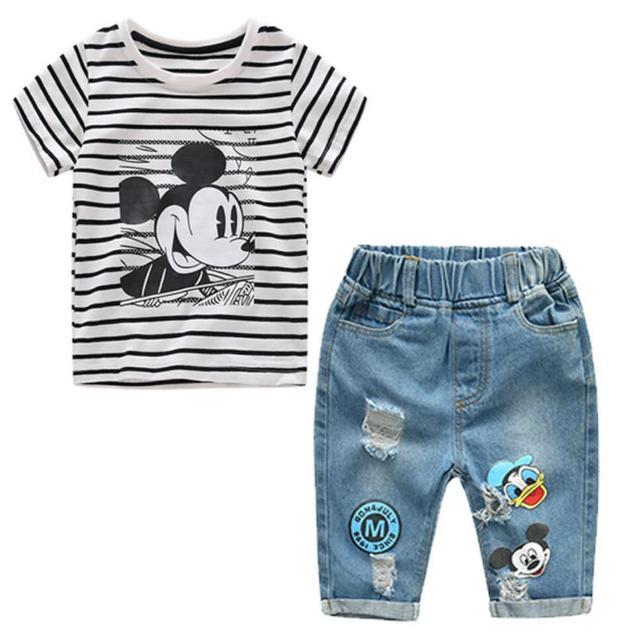 2019 חדש תינוקות בני בנות קיץ Cartoon פסים T חולצה + ג 'ינס מכנסיים קצרים בגדי 2 pcs סטי ילדי ילדי חור ג 'ינס בגדים