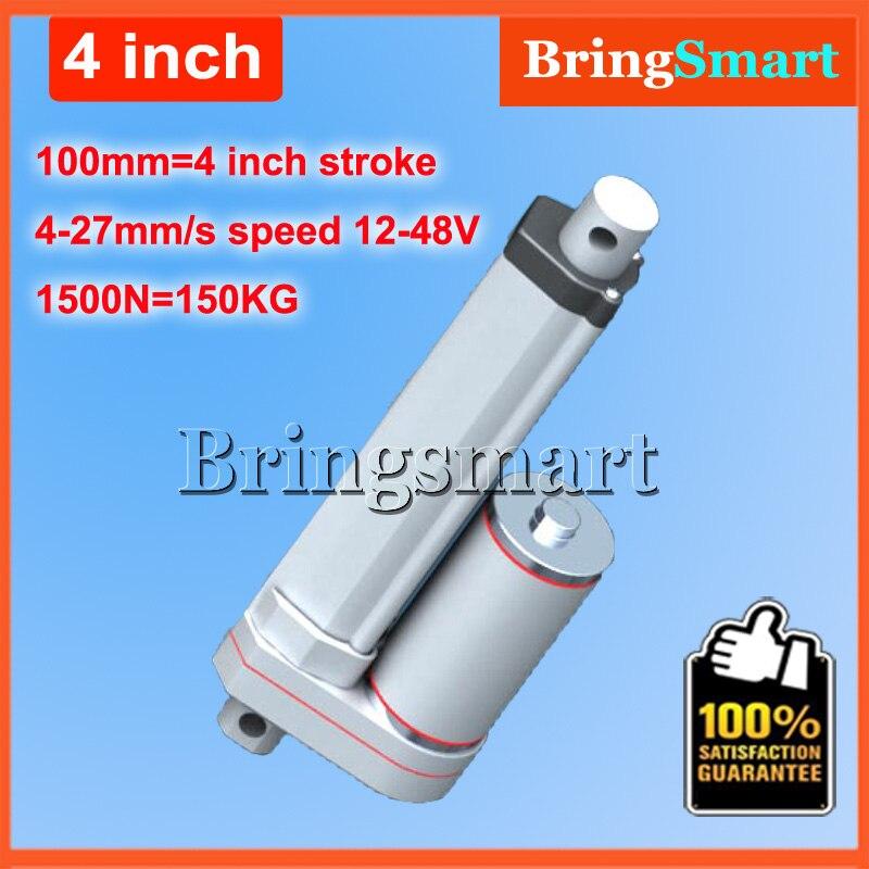 4 дюйма 100 мм ход 12 В постоянного электрического линейный привод 4-27 мм/сек. 150 кг нагрузки 12- 36 В DC 1500N Heavy Duty трубчатые Электрический Двигатель ...
