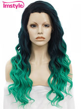 Imstyle Loose Wavy Two Tone Ombre Wigs Synthetic Front Lace Wig for Women Heat Resistant Fiber Long Hair Pink Green Color(China)