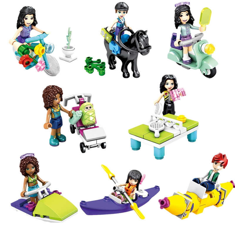 8pcs/lot Girl Friends Princess Stephanie Mia Olivia Andrea Mini Doll Figure Toy For Girl Legoinglys Building Block Bricks Toys