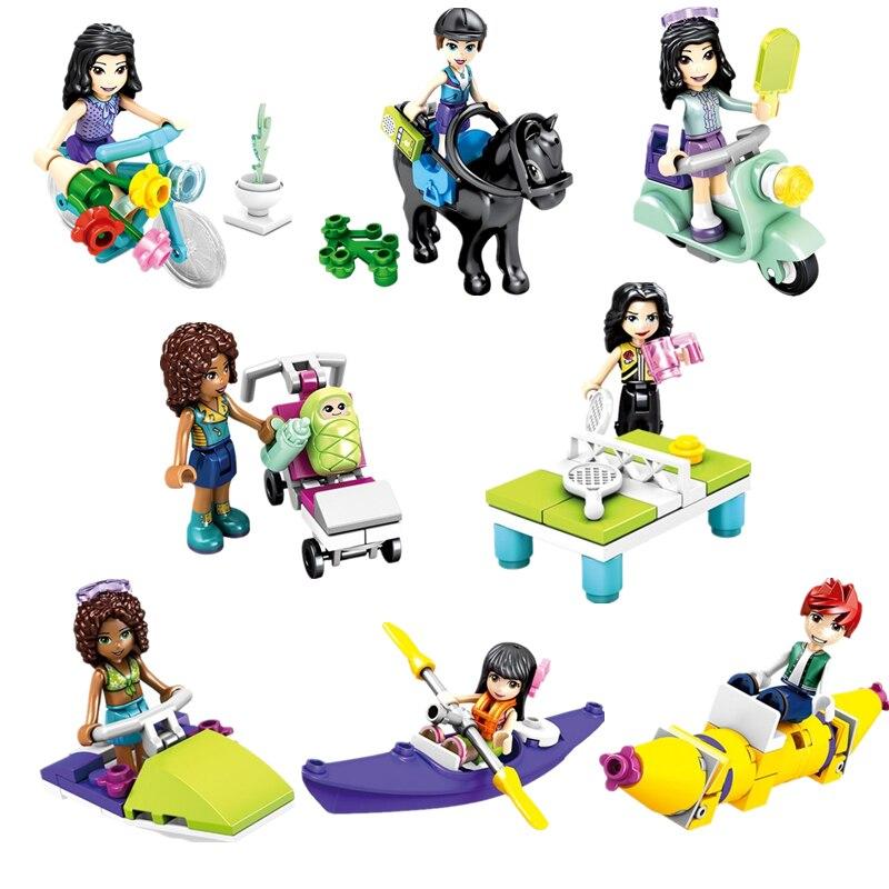 8 ชิ้น/ล็อตสาวเพื่อนเจ้าหญิง Stephanie Mia Olivia Andrea มินิรูปตุ๊กตาของเล่นสำหรับสาว Legoinglys Building Block อิฐของเล่น