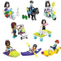 8 pçs/lote menina amigos princesa stephanie mia olivia andrea mini boneca figura brinquedo para menina legoinglys blocos de construção tijolos brinquedos