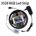 3528 60Leds/M 5M LED Strip Light Kit Non-Waterproof RGB/Single Color+IR Remote Controller/DC Connect+12V 2A Power Adapter