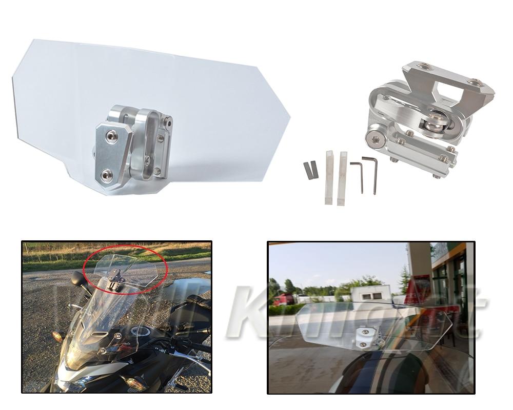 Motorcycle Windscreen Windshield Spoiler Deflector Adjustable Lockable for Honda KTM Aprilia Ducati Triumph Harley