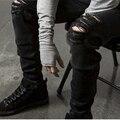 2016 calças de Brim Rasgadas Homens Jean Destruído Jeans Com Buracos Denim Jeans Skinny Slim flexível Riscado Calça Jeans Motociclista calças Elásticas
