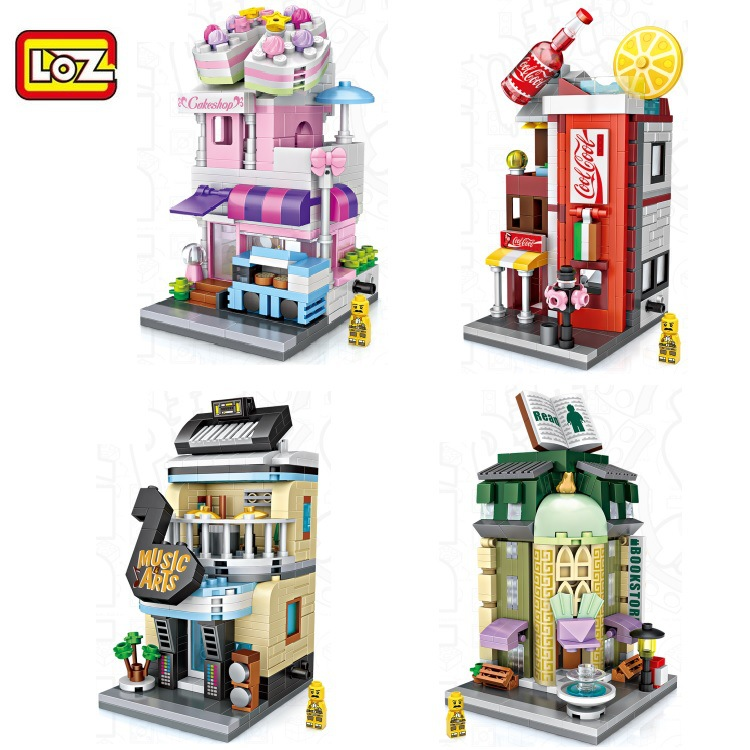 LOZ Blocks Cute Mini Street Store Children Educational Toy Small Shop brinquedos Model  Building Bricks Girl Gifts 1621 - 1624 4pcs lot loz christmas gifts doraemon