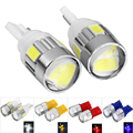 2pcs 12V 0.5W T10 SMD5630 Car License Plate Light Bulb with 6 LEDs with Lens White Light Blue/Red/White/Yellow Universal