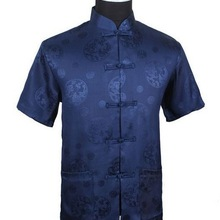 Dark Blue Chinese Mens Silk Satin Kung-Fu Shirt Top with Dragon Size S