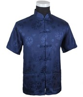 Dark Blue Chinese Men S Silk Satin Kung Fu Shirt Top With Dragon Size S M
