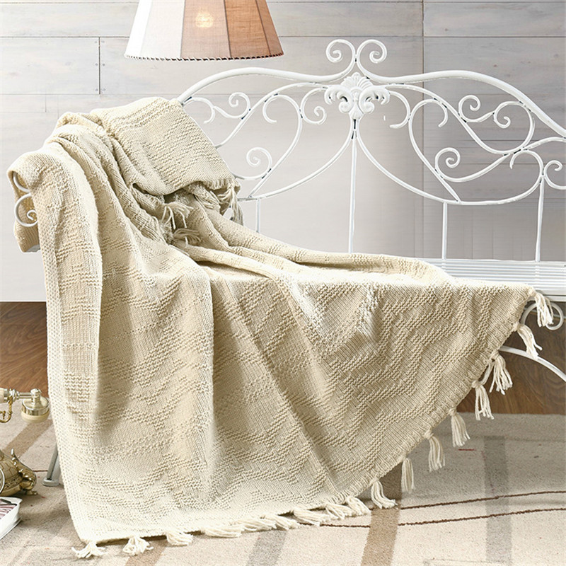 ФОТО Les Baoyi 1-Piece Cotton Blanket Solid Color Plaid Throw Blanket On the Bed Queen Size Machine Washable 110*180cm