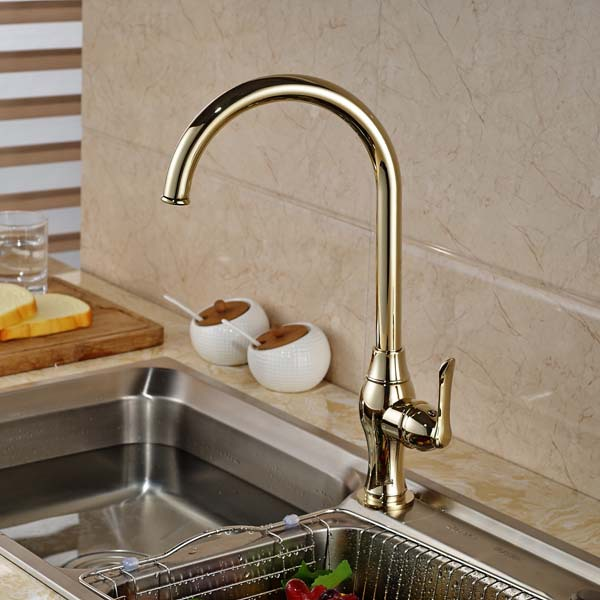 Golden Brass Swivel Spout Kitchen Faucet Single Handle Hole Deck Mounted Hot and Cold Water antique brass swivel spout dual cross handles kitchen