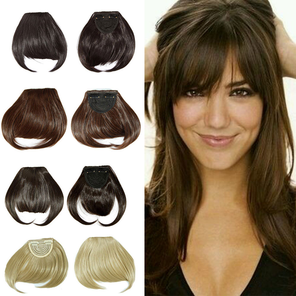 Clip In Bangs Fake Hair Extension Hairpieces Piece On Front Neat Bang For Women Synthetic Fringe US Aliexpress