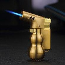 Nowy Mini pistolet natryskowy kompaktowy zapalniczka na butan latarka Turbo zapalniczka wiatroodporny metalowy JET zapalniczka 1300 C bez gazu