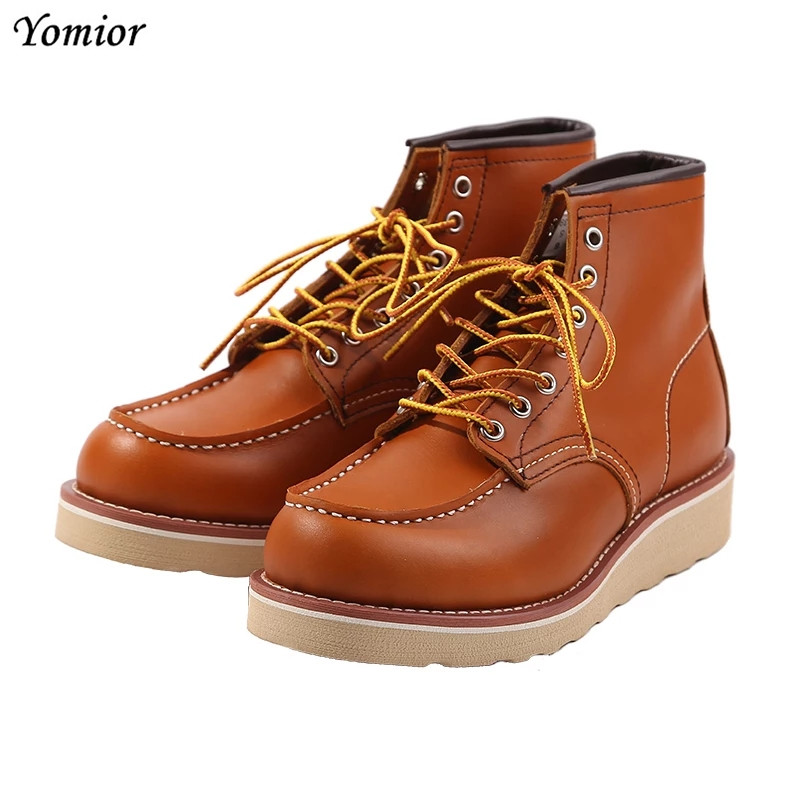 Handmade High Quality Fashion Genuine Leather Men Red Ankle Boots Outdoor Wing Motorcycle Boots Lace-up Work Wedding Boots