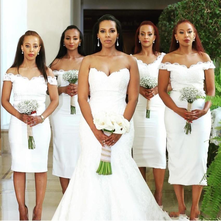 Short White   Bridesmaid     Dresses   Boat Neck Off The Shoulder Sheath Knee Length Cheap Wedding Party Gowns 2019 Vestido De Festa