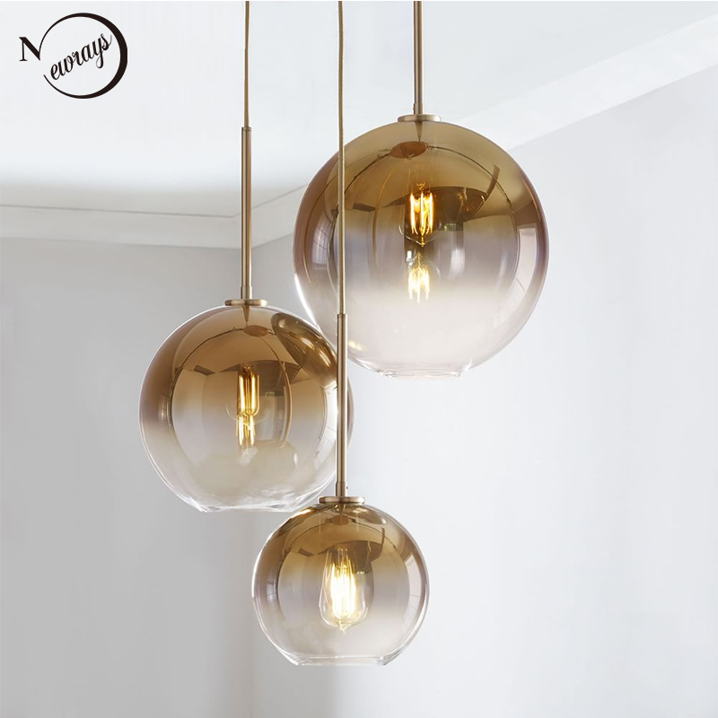 Modern Europe glass pendant light LED E27 gradient color art deco loft hanging lamp for home bedroom living room restaurant cafe