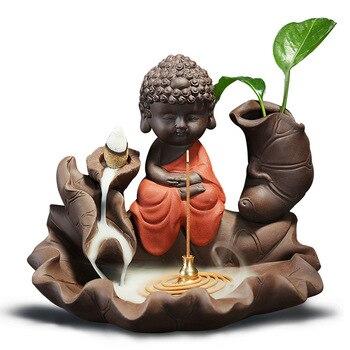 Florero de loto País de las Maravillas, incienso de reflujo, incensario de Buddha, quemador de loto, soporte de palo con calabaza de cobre, decoración creativa para el hogar