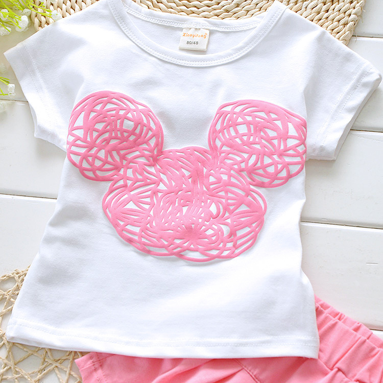 a160953dbd477 2018 Minnie mouse baby girls summer clothing set infant kids sport suit  clothes set children tracksuit Tshirt+short pant Mickey