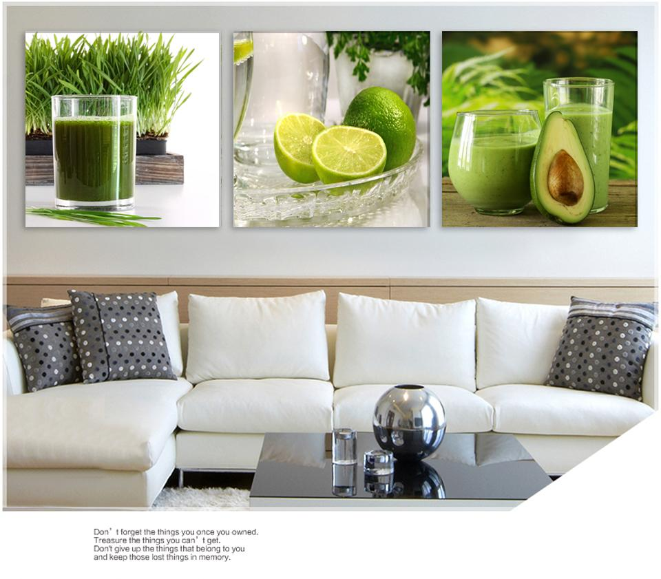 Triptych Green Lemon Fruit Modern Wall Painting Canvas Printed Lemon Picture