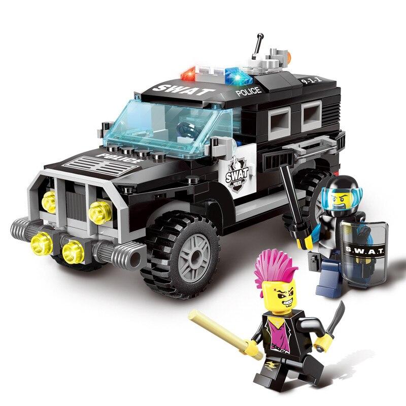 City Police Swat Car Building Block bricks compatible legoes city figures sets Kids Educational Bricks Toys gift kid city police