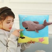 GGS 35cm Új kreatív 3D szuper lágy Aranyos horror cápa plüss játék cápa párna baba lány gyermek születésnapi ajándék Xmas ajándék