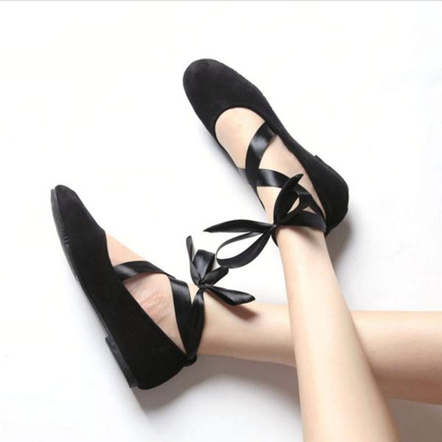 women Ballerina Flats tie Shoes Fashion Breathable Lady'sBig yards Asakuchi Comfortable chaussure femme Straps Bow Soft Shoes