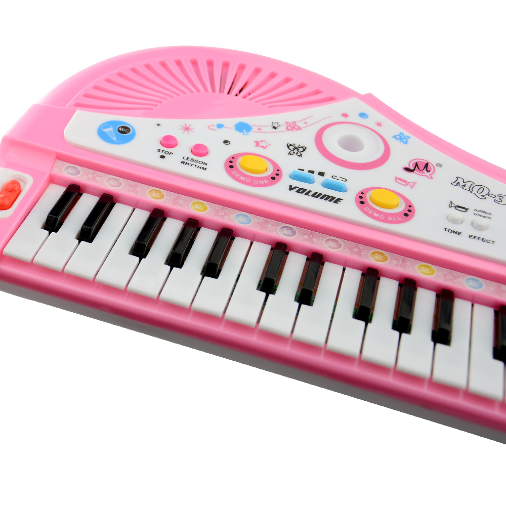 Children Learning 37 Keys Mini Electronic Keyboard Musical Instrument Toys with Microphone Early Educational Electone Piano