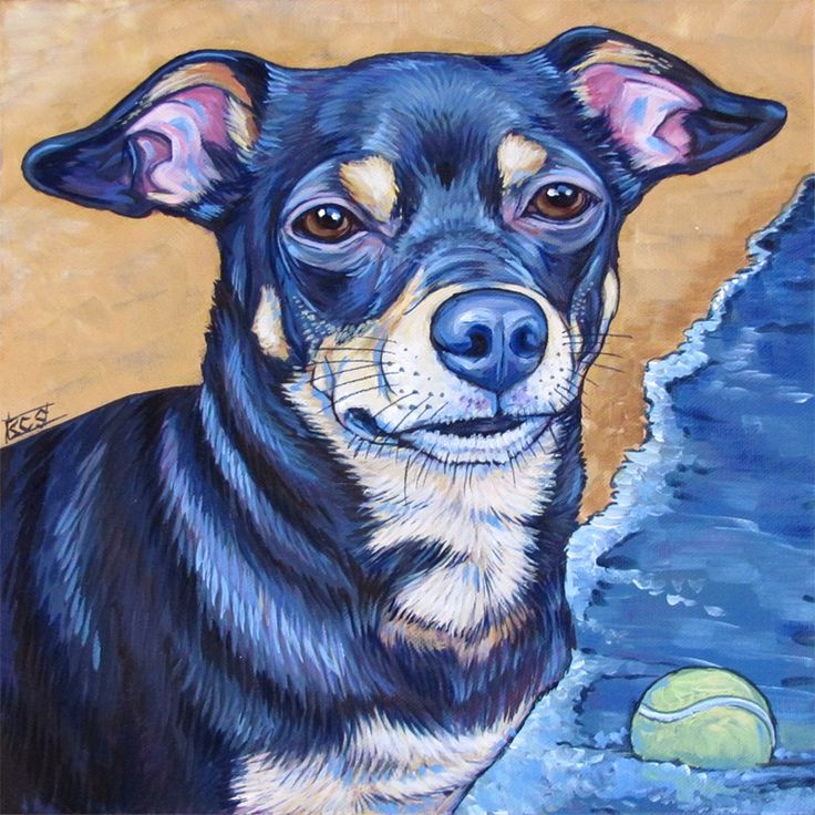 Black Tan Dog Painting