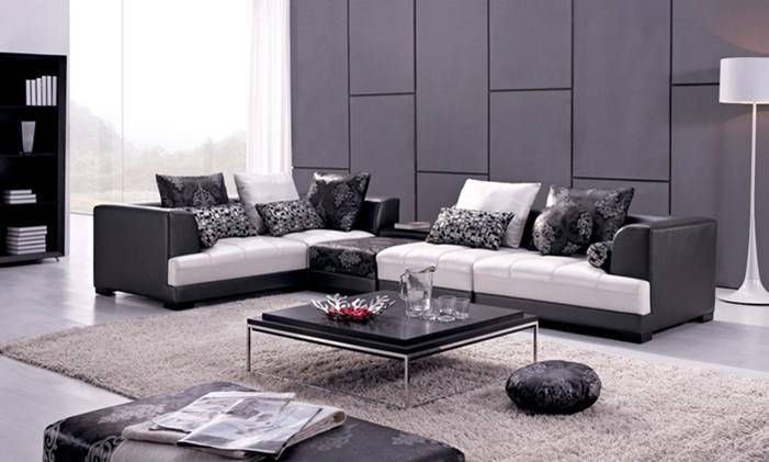 Free shipping modern design sofa made with top grain for Living room ideas l shaped sofa