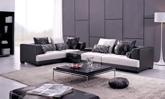 Free Shipping Modern Design Sofa Made With Top Grain Leather L Shaped Corner Sectional