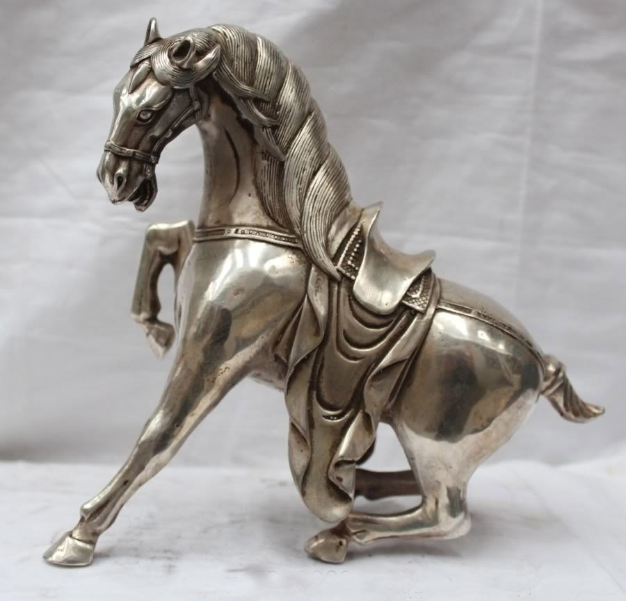 9 China Chinese Silver Successful Fengshui War Tang Horse Statue   9 China Chinese Silver Successful Fengshui War Tang Horse Statue