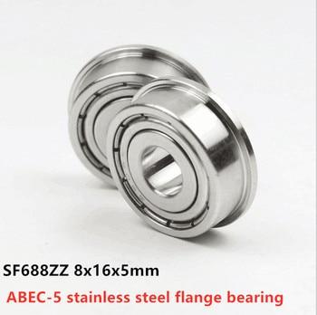 50pcs/lot  ABEC-5 SF688ZZ 8x16x5 stainless steel flange ball bearing Miniature SF688 -2Z 8*16*5mm