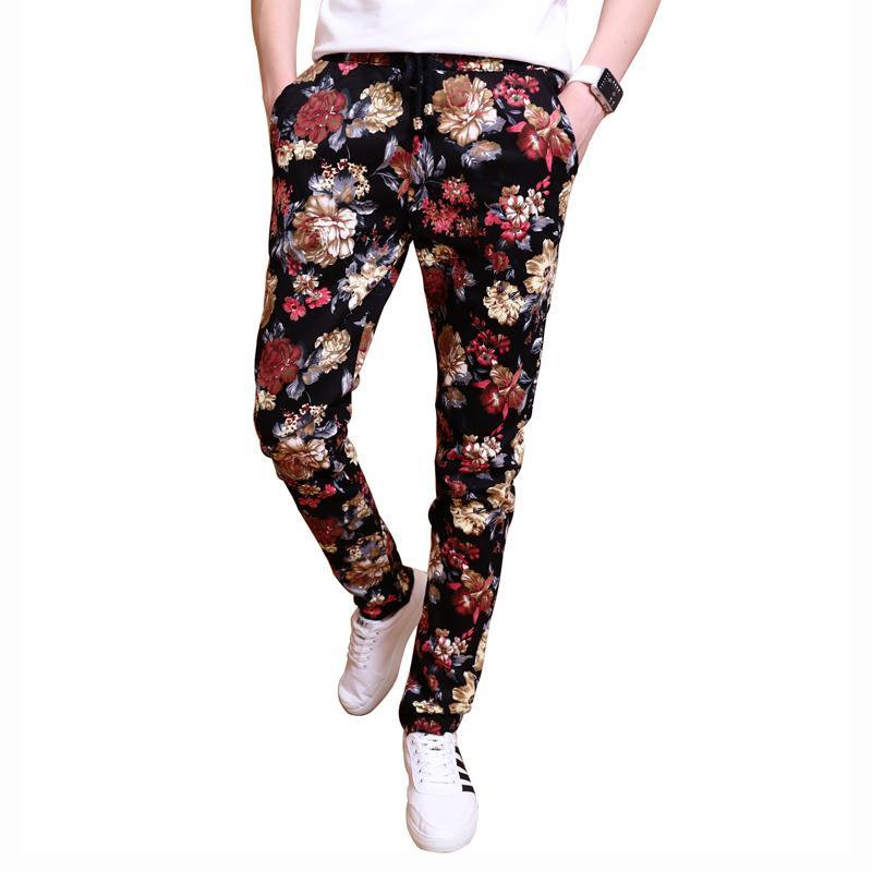 Men's Pants Fashion Flower Trousers Men Casual Harem Pants Mens Floral Fashion Slim Fit