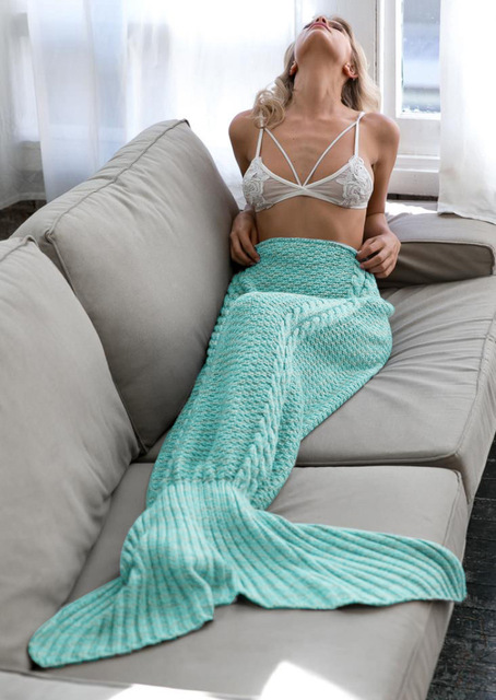 Authentic Explosions Fish Scales Mermaid Blanket Knit Fish Tail Blanket Sofa Air Conditioning Birthday Gift Blankets And Throws