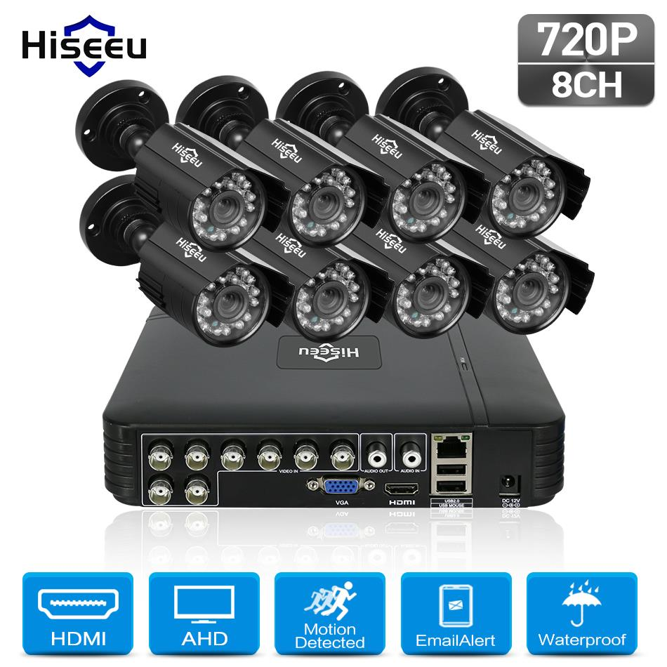Hiseeu 8CH 720P CCTV Camera system 8pcs 1.0MP waterproof Outdoor Surveillance Security Camera CCTV DVR Kit AHD Camera Set