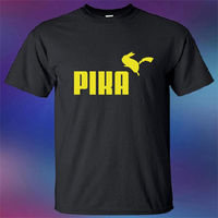 New Pika Pikachu Funny Pokemon Cartoon Anime Logo Men S Black T Shirt Size S 3XL